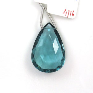 Hydro Aquamarine Drops Almond Shape 30x20mm Single Pendant Piece Nice Color  Sale by Best in Gems  (7242)