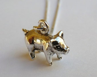 Sterling Silver Small Pig Necklace