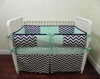 Custom Baby Crib Bedding Set Jodie- Neutral Baby Bedding, Navy and Mint Baby Bedding