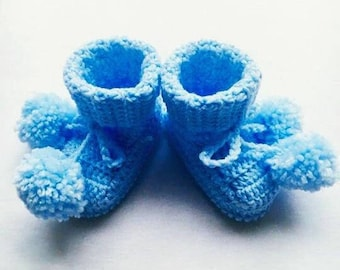 Baby Crochet Booties, Crochet Baby Blue Pom Pom Shoes, Crochet Baby Shoes, Baby Shower Gift, Baby First Shoes, Photo Prop, Baby Shower Gift