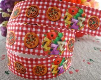 """Pizza Grosgrain 7/8"""" Printed Ribbon"""