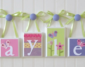 Baby Name Decor . ROUTED EDGE . Name Blocks . Nursery Name Blocks . Baby Name Blocks . Wood Name Blocks . Flower Garden Butterfly. Hayley