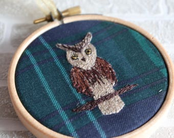 Owl Gifts, Embroidery, Owl Ornament, Owl Decor, Tartan Home Decor, Embroidery Hoop, Owl Embroidery, Gift for Her, Nature Lover, British Bird
