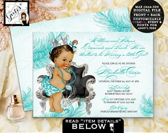 Breakfast at BABY SHOWER co blue invitations,ethnic party digital, Audrey Hepburn inspired party, princess African American invite. Gvites
