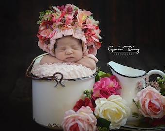 Floral Bonnet,newborn flower bonnet, photography prop,made to order,custom