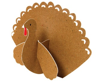 Kraft Turkey Place Cards - Set of 10 Meri Meri 3D Turkey Name Cards - Add to each Thanksgiving place setting at your turkey day dinner!
