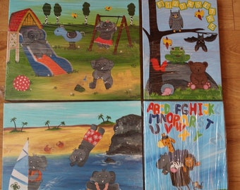MIX OF 14 artworks Original handmade acrylic paintings on canvas kids art children 123 elephant nursery art 16x12 12x12 inches kid