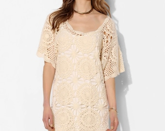 Crochet beach dress PATTERN, detailed tutorial in ENGLISH for every row, designer crochet dress PATTERN, beach wedding crochet dress pattern