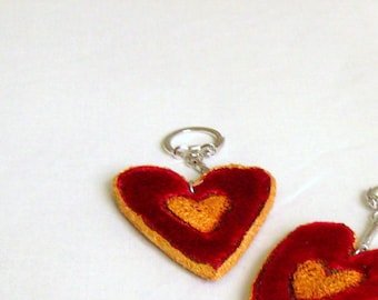 Keyring heart red velvet golden hand crafted unique