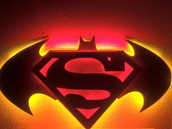 Wooden led back lit batman vs superman wall light free aloadofball Images