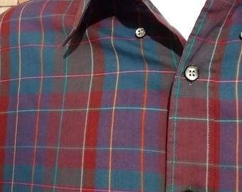 80's Manhattan button down plaid shirt, Medium sport
