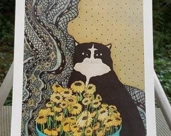 Tuxedo Cat Signed and Numbered Print J Lantz