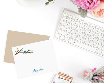 Personalized note cards, Printed cards or Digital File - Bird on Branch