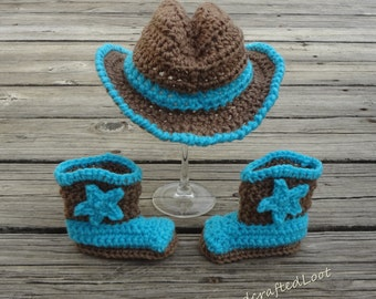 Newborn Baby Cowboy Hat Boot Set Crochet Handmade Photo Prop Shower Gift Blue Brown 0-3,3-6 Month