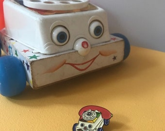 Vintage Pin Club - Pull Along Phone Toy Enamel Pin Badge
