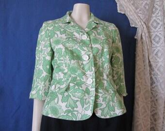 Green Blazer- Ann Taylor Loft - Size 6 petite - 3/4 length sleeves -Floral Blazer -Vintage Blazer -Small Jacket -Easter clothing