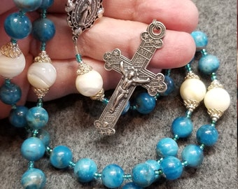 Blue Tiger Eye Apatite Rosary, Sterling SilverHand Cast Crucifix, Miraculous Medal Center HeartFelt Rosaries