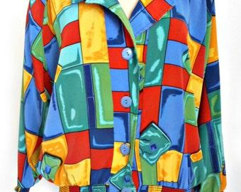 Vintage Color Block Blouse Top 1980's Disco / Shoulder Pads Peter Popovich