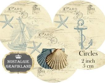 Nautical Circles 2 inch Instant Download digital collage sheet C210 Vintage Maritime Anchor Sea shells Ocean Beach