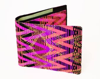 Pink, Peach, and Purple ZigZag Geometric Vegan Wallet
