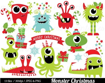 Christmas Monster Clipart, Monsters Clip Art, Holiday Monster Clipart, Santa Hat, Cute Monsters - Commercial & Personal - BUY 2 GET 1 FREE!