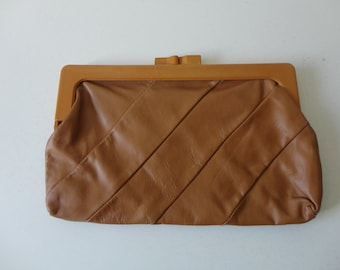 VINTAGE caramel brown LEATHER CLUTCH - john wind - genuine leather - made in hong kong - modern minimalist