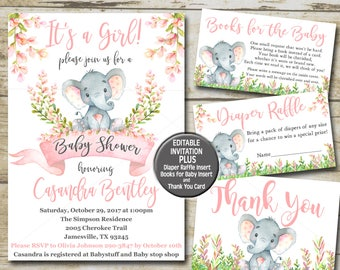Invitation kits etsy girl elephant baby shower invitation kit pink elephant editable invite books for baby filmwisefo Gallery