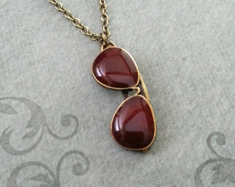 Sunglasses Necklace Red Sunglasses Charm Necklace Sunglasses Jewelry Glasses Necklace Summer Necklace Summer Jewelry Bronze Necklace Brass