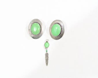 Sterling mexico green turquoise earrings with matching pendant
