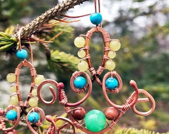 Bohemian Love Unique Earrings with Natural Gemstones & Free Shipping