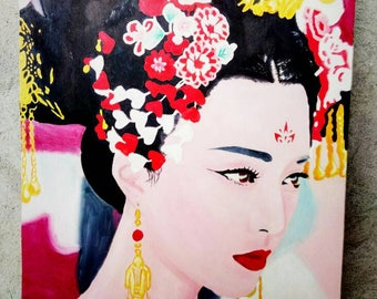 "Original Art Oil painting  "" Chinese bride"" Size : 38*57 cm."