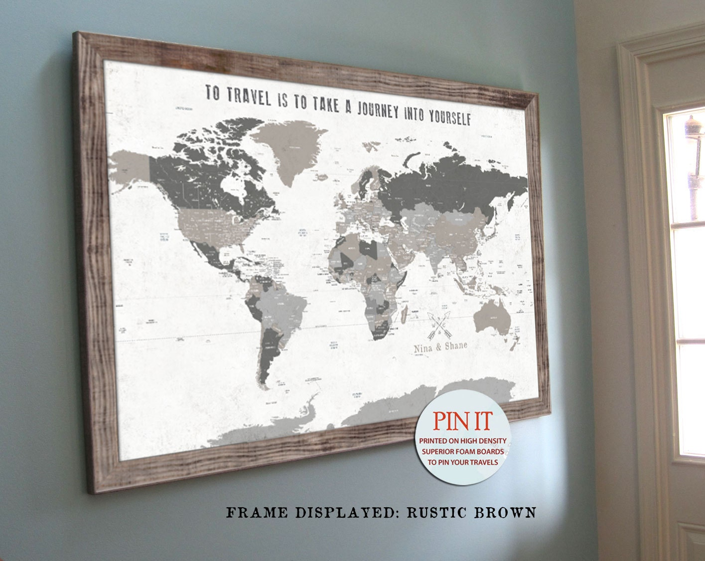 World map push pin world map world map wall art rustic wall zoom gumiabroncs Gallery