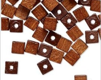 Natural Vintage German Wood Squared Off Corners Cube Beads Brown Color 6mm 50pcs