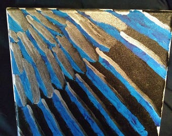 Black-billed Magpie Feather Acrylic Painting 8x8