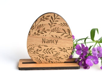 Personalized Rustic Easter Decoration. Easter Decorations Wooden. Easter Egg Table Decor with Place Card Holders.