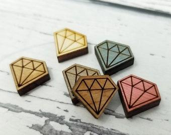 Mini petite gravé bois Enfilade Perle diamant   Cabochons de Stud boucles d'oreilles embellissements   Découpé au laser