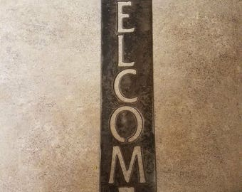 Welcome sign rustic, flat black