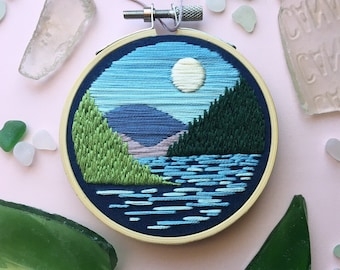 Maine Harbor Daylight Embroidery | Acadia National Park, Mt. Desert Island, Maine | Handmade contemporary embroidery | 3, 4, or 5 inch hoop