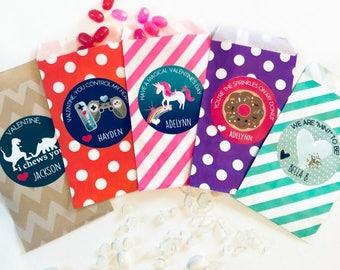 Personalized Valentine Stickers + Designer Bags