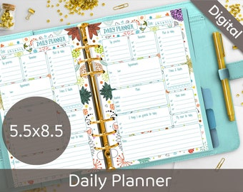 5.5 x 8.5 Daily Planner Printable, Cute Planner Printables, Half size printable refills, Syasia Floral Day Planner, DIY PDF Instant Download