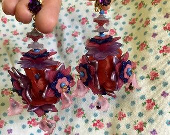 Pink and purple chandelier floral earrings