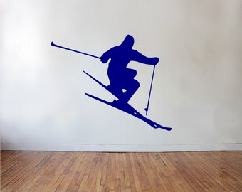 Ski Wall Decal - skiing wall decor, sports decal, kids room wall art, skiing wall decal, winter sports wall decal