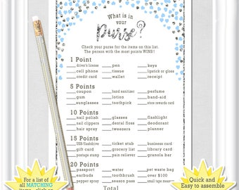 Instant Download WHAT is in YOUR PURSE? Bridal Shower game with blue and silver tiny hearts, Bachelorette game, diy Printable, 46BR