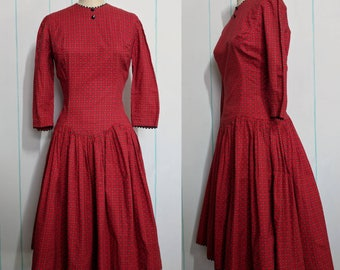 Red Clock Print Dress Size 10