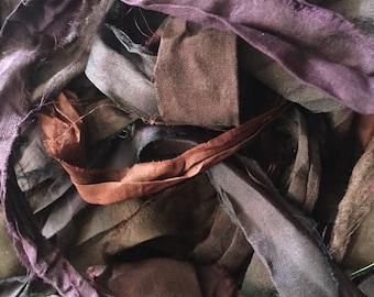 Dark Purple, maroon and browns Recycled Sari Silk Ribbon - Fair Trade product
