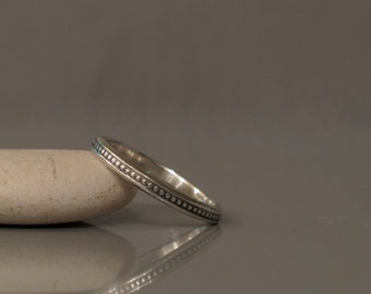 Sterling silver pattern ring made to order, Delicate silver ring, Silver stacking ring