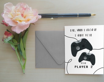 Father's Day Card, Gamer Dad, Gifts for Dad, Greeting Card for Dad, Father's Day Greeting Card: Player 2x
