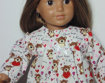 Valentine Doll night gown, white doll night gown, 18 in doll night gown, Doll night gown for Valentine, Doll night gown with bears and heart