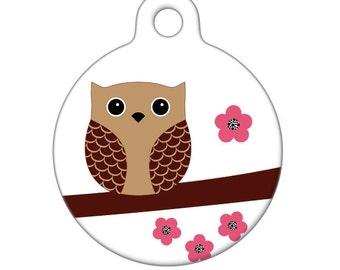 Pet ID Tag - Springtime Owl Pet Tag, Dog Tag, Cat Tag, Bag Tag, Child ID Tag