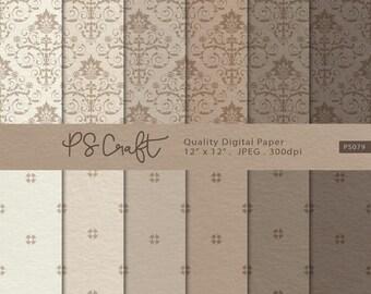 Damask Craft Paper Digital Papers, Craft Paper Digital Paper, Damask Digital Paper Pack, Damask Backgrounds